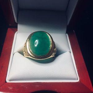 Men's Fashion Stamp Green Crysyal Gold Tone Ring
